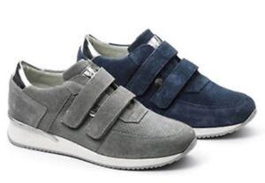 Casual Sneaker Zeppa Scarpe Camoscio Grigio Donna Keys Pelle Strappo Velcro 5514 wnI40q8xg