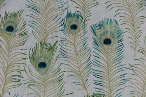 "SANDERSON  CURTAIN FABRIC DESIGN /""Themis/"" 3.1 METRES TEAL LINEN BLEND"