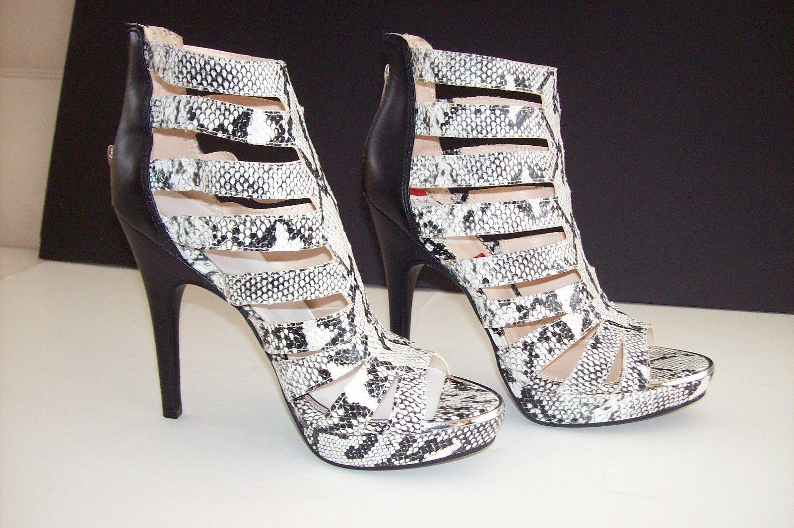 BAR lll femmes HIGH HEEL chaussures OPEN TOE PLATFORM FAUX SNAKE 7.5