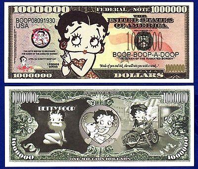 2-Betty Boop Million Dollar Bills FAKE- NOVELTY Cartoon Queen ITEM Z MONEY