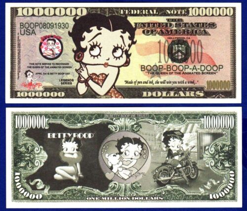 2-Betty Boop Million Dollar Bills FAKE- Cartoon Queen ITEM Z MONEY NOVELTY