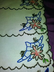 """6 Gorgeous Madeira Colorful Embroidered & Cutwork 10"""" Square Linen Napkins Tablecloths Tablecloths"""