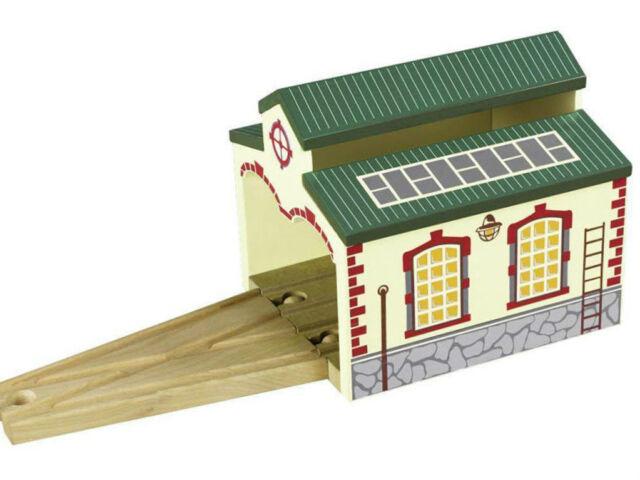 Nostalgic Engine Shed - Wooden Railway Train Track Accessory 100% Hardwood