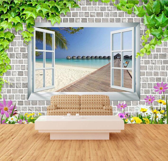 3D Window Beach Sea 98 Wallpaper Mural Wall Print Wall Wallpaper Murals US Carly