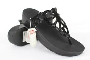 c7ef7f7e23270f New FitFlop Women s Bumble Crystal Toe Post Sandals Black H69-001 ...