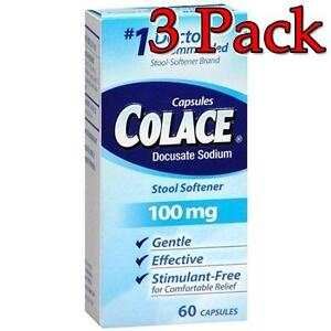 Colace Stool Softener Laxative 100mg 60ct 3 Pack
