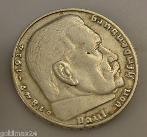 Drittes Reich 2 Reichsmark Silbermünze 1938 D Paul Von Hindenburg
