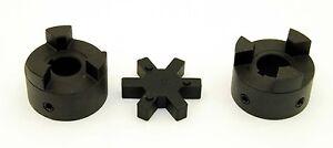 "7//8/"" to 1-1//8/"" L100 Flexible 3-Piece L-Jaw Coupling Coupler Set /& Rubber Spider"