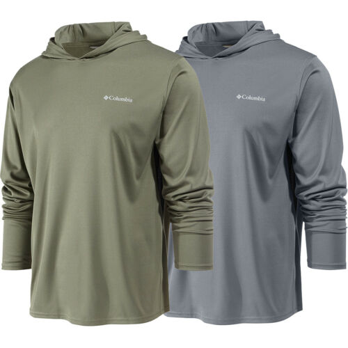 """New Mens Columbia /""""Cool Coil/"""" Freezer Coil Omni-Shade Hoodie T-Shirt Top Tee"""