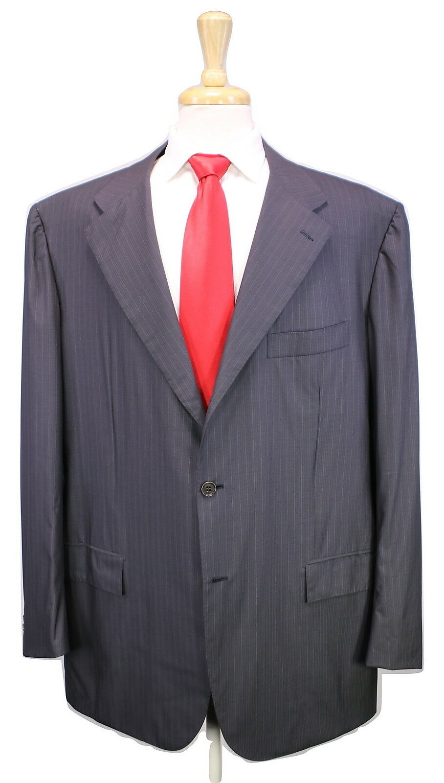 Nwt Neu Kiton 2017 Dunkelgrau Grau Streifen Super 54.9ms Wool 2-btn Suit 52r