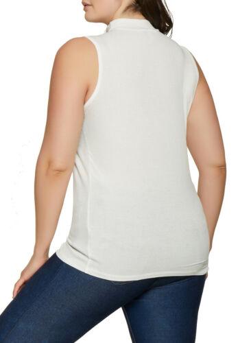 NEW Ambiance Women/'s White Plus Size Choker Neck Rib Knit Tank Top Choose Size