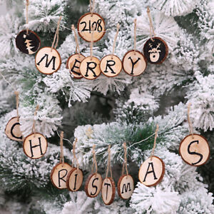10pcs Christmas Wood Round Tree Ornaments Xmas Hanging Pendant Home