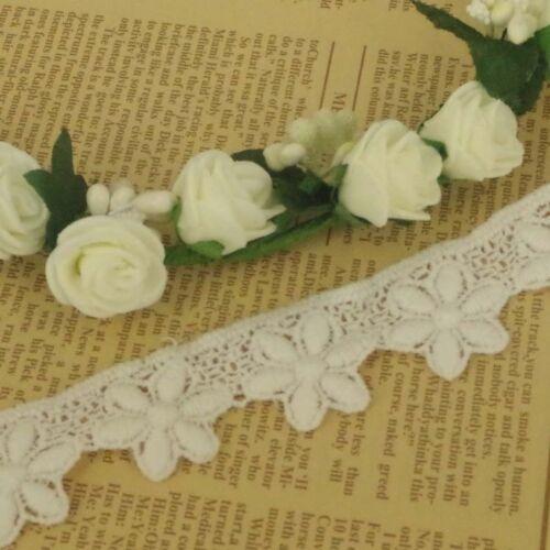1 M Flor de 5 Pétalos Marfil Blonda a mano Algodón inspiración Vintage Ribete De Encaje 25 mm Ancho LC38