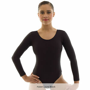 a275bb678f8a Ladies Long Sleeve Plain Ballet Dance Gymnastics Leotard Shiny Nylon ...