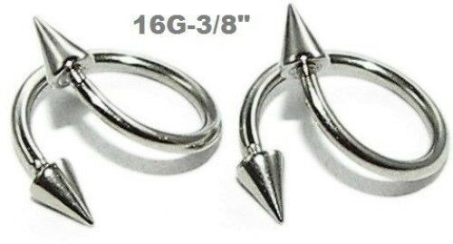 "2pcs.16g~3//8/"" with 3x6mm spikes 316L Steel Spike Spiral Twister Lip Earring"