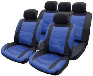 Conjunto Completo De Negro Y Azul Tela De Malla confortable Interior Estilo coche cubiertas de asiento