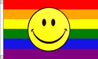5' x 3' FLAG Smiley Face Rainbow Large Festival Party Flags 150x90cm New