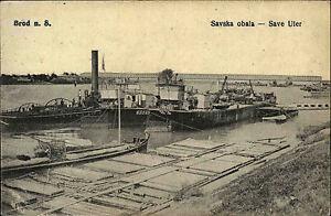 BROD-n-S-Savska-obala-Save-Ufer-Schiffe-legen-an-AK-Vintage-Postcard-1918