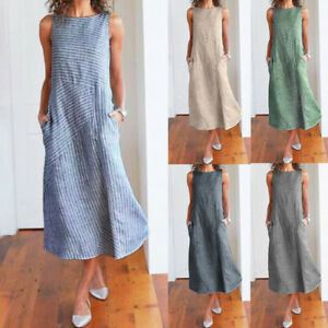 Women-Casual-Striped-Sleeveless-Dress-Crew-Neck-Linen-Pocket-Loose-Long-Dress