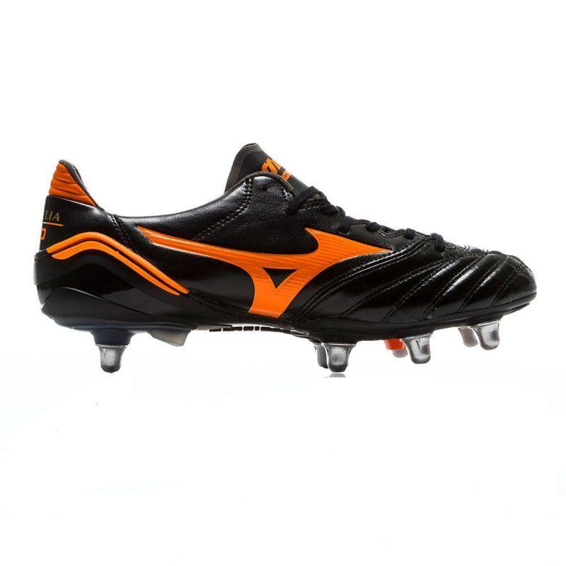 Mizuno Morelia NEOPRENO Si botas De Rugby - Negro Naranja