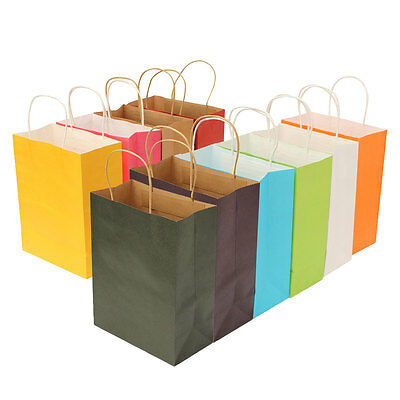 1~10Pcs Colorful Paper Bags With Handle For Party Birthday Gift Packing Wedding
