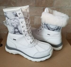 Details about UGG Adirondack III Snake White Waterproof Leather Snow Boots Size US 9.5 Womens