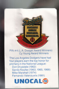 VINTAGE-L-A-DODGERS-UNOCAL-PIN-UNUSED-CY-YOUNG-AWARD-WINNERS