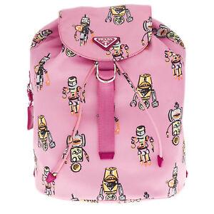 7dd8304ec324 PRADA Candy Pink Robot Print Backpack Bag [1BZ032 2EM3 F0028] RRP ...