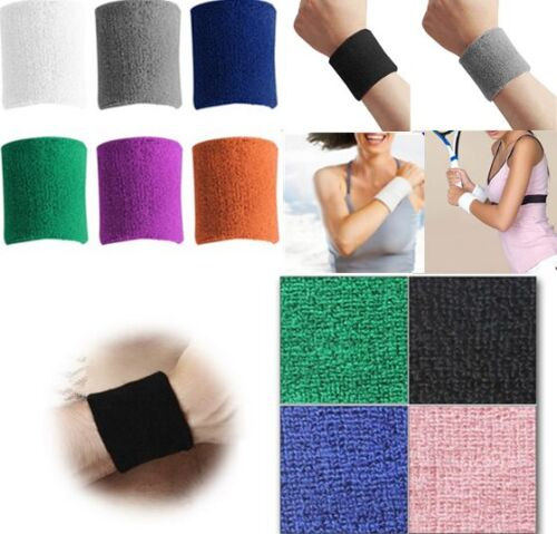 Sports Unisex Terry Cloth Cotton Sweatband Wrist Tennis Yoga Sweat WristBand