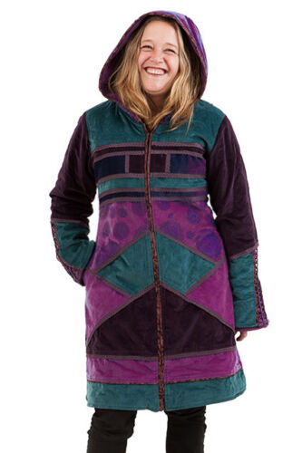 Inverno Velluto Giacca Trance Giacca intreccio Boho Patchwork Hippy Mandala Psy xCqFw7TS