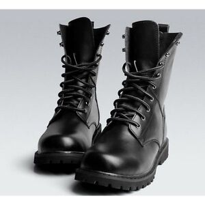 f0d3e00e659 New Black Combat Leather Lace Up Men's Military Ankle Boots Shoes US ...