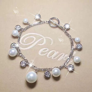 18k-white-gold-gp-charm-bracelet-made-with-Swarovski-crystal-pearl-link-chain