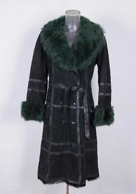 Sportivo Vintage Da Donna Cappotto Di Pelle Cappotto Pelle Camoscio Verde Pelo Pelliccia Mis. 40-