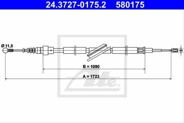 ATE Seilzug Feststellbremse für Bremsanlage 24.3727-0175.2