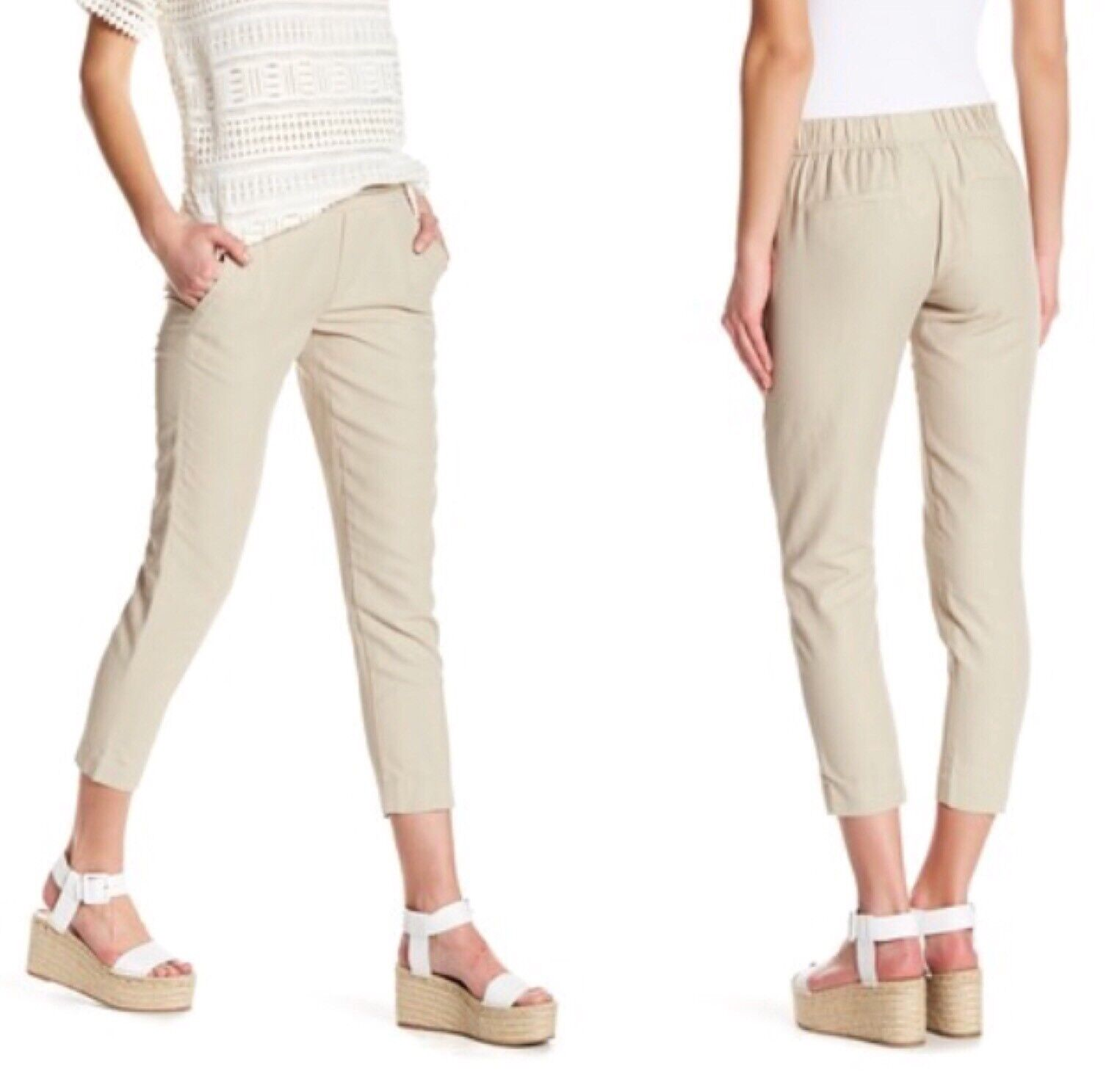 Vince Womens Easy Pull On Pants Slim Fit Ankle Linen Beige Size 6 NWT