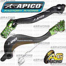 Apico Black Green Rear Brake & Gear Pedal Lever For Kawasaki KX 250F 2011 MotoX