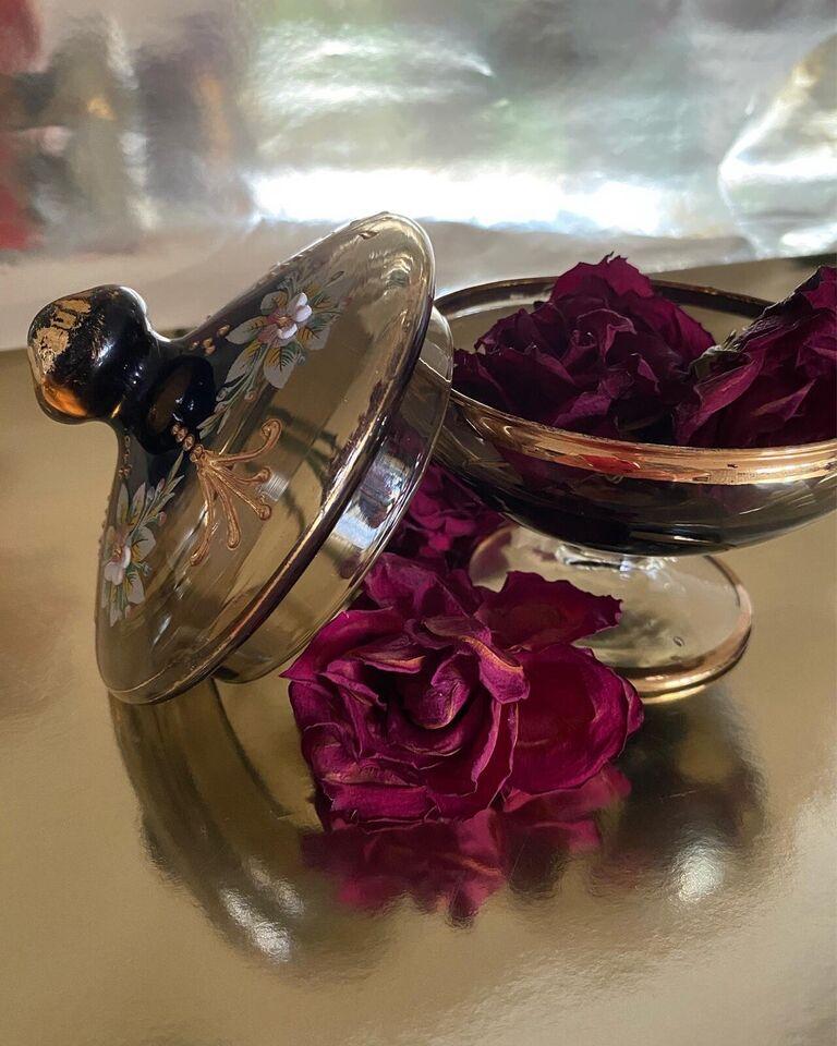 Glas, Skål med låg, Vintage glas