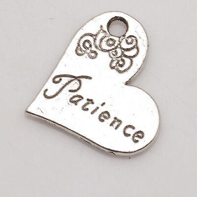 Nice PATIENCE Heart Tibetan Silver Pendants Charms Jewelry