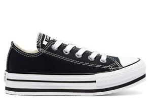 Scarpe donna Converse all star 670033C sneakers basse platform nere chuck taylor