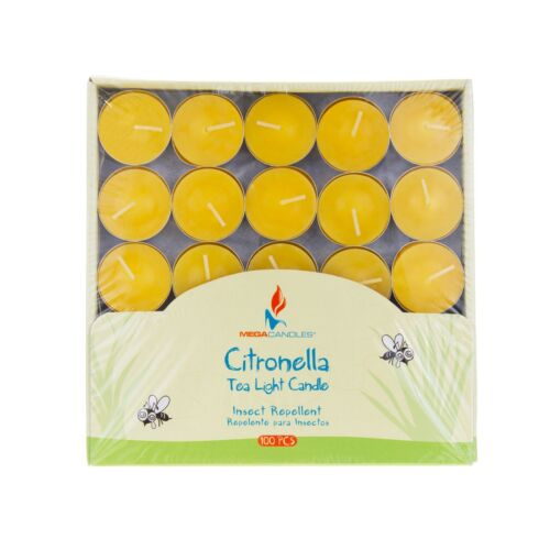 Yellow Mega Candles Citronella Scented Tea Light Candles Set of 100
