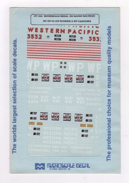 WP Steel Cabooses Microscale Decal HO  #87-448  Western Pacific