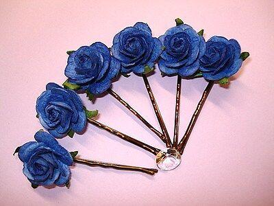6 BIG ROYAL BLUE FLOWER HAIR GRIP//PINS WEDDING//PROM 25mm