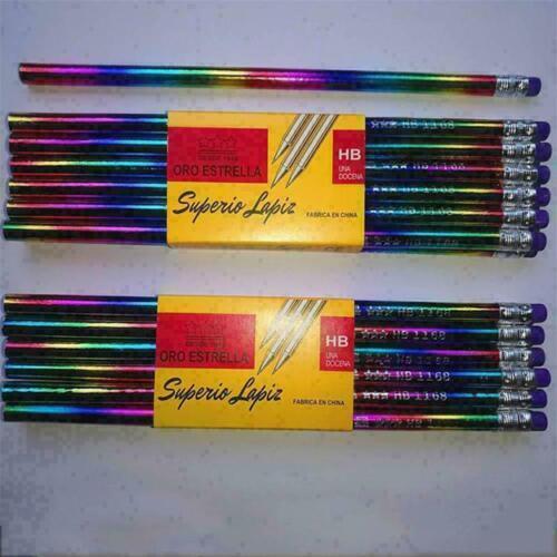 12 Stück Regenbogen-Bleistift mit Radiergummi Regenbogen O2I2 W9G8 B3M8 Neu T4X6