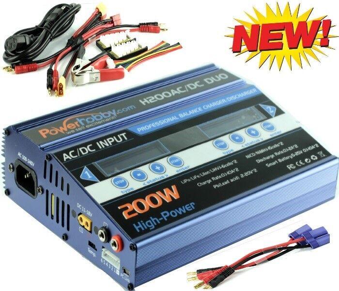 Powerhobby H200 AC c Lipo Batería 200w Cargador Rápido Dual Proboat EC5 banana..