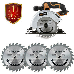 """6 ½"""" Cordless Circular Saw with 20V Lithium-ion Battery& Charger with Blade 3Pcs"""