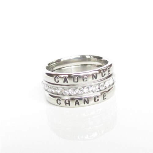 Stackable Personalized Ring Name Ring Birthstone Mom// Grandma gift Silver
