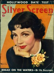 SILVER-SCREEN-MAG-AUG-1936-CLAUDETTE-COLBERT-cover-artist-MARLAND-STONE