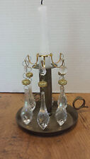 2 Candle holders 6 lucite Prisms Elegant Gold filigree trim
