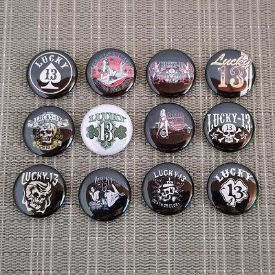 12 Stück Lucky 13 Button / Pins / Badge / 1 Inch / 25 Mm / Rockabilly Punk Rock
