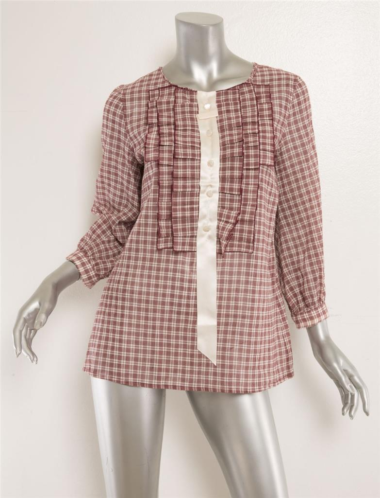 MARC JACOBS Bordeaux Plaid Pleat Ruffle Front Satin Button Blouse Top 4 NEW